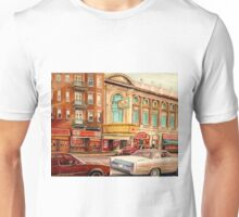 CANADIAN ART CANADIAN PAINTING FAMOUS MONTREAL RIALTO MOVIE THEATRE BY CANADIAN ARTIST CAROLE SPANDAU Unisex T-Shirt