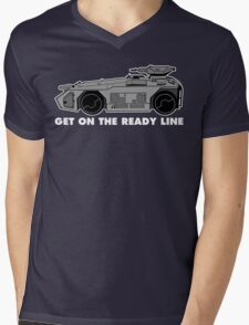 Get On The Ready Line (B&W) Mens V-Neck T-Shirt
