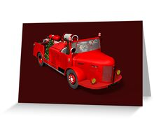 Santa Claus Driving A Fire Truck Greeting Card