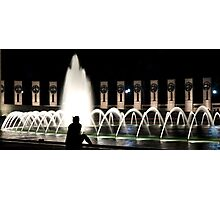 Ponder by the fountain Photographic Print