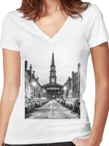 HDR Church Women's Fitted V-Neck T-Shirt