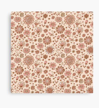 Retro Sketchy Floral Patterns Canvas Print