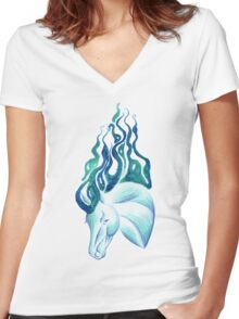 Marbled Water Horse Portrait Women's Fitted V-Neck T-Shirt