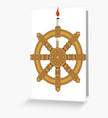 Reborn to be Wild Dharma Wheel Greeting Card