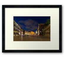 Car Trails on the Elegant Duomo Square in Ortygia, Syracuse, Sicily, Italy Framed Print