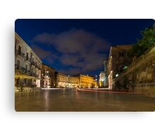 Car Trails on the Elegant Duomo Square in Ortygia, Syracuse, Sicily, Italy Canvas Print