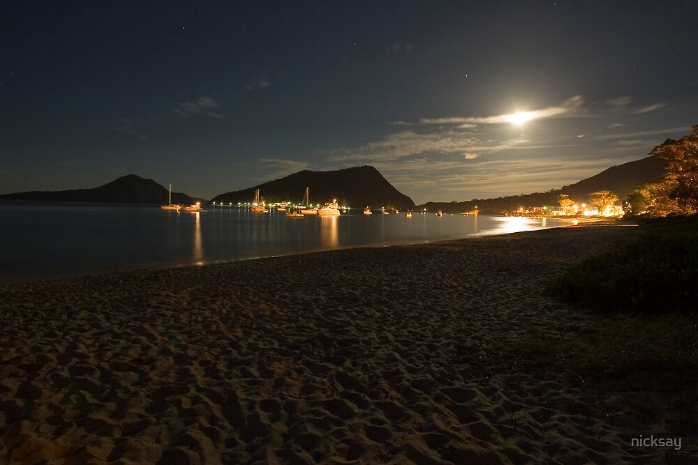 Moonlight over Shoal Bay by nicksay