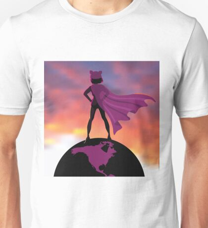 Superwoman in pink pussy hat conquering the world. Unisex T-Shirt