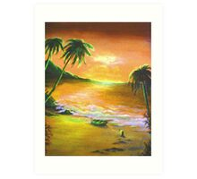 dingy in the sunset Art Print