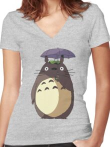 My Neighbour Totoro - Umbrella Totoro Women's Fitted V-Neck T-Shirt