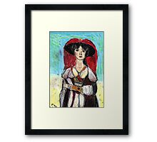 Lady With Red Feather Hat(after Lawrence) Framed Print