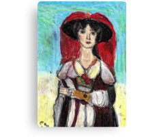 Lady With Red Feather Hat(after Lawrence) Canvas Print