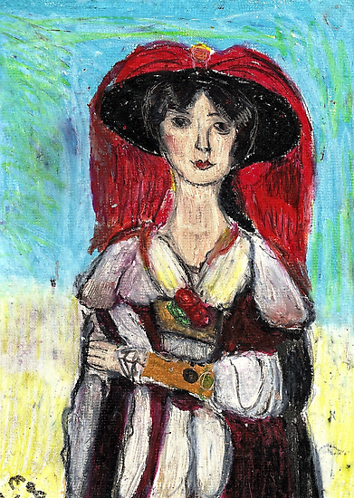 Lady With Red Feather Hat(after Lawrence) by RobynLee