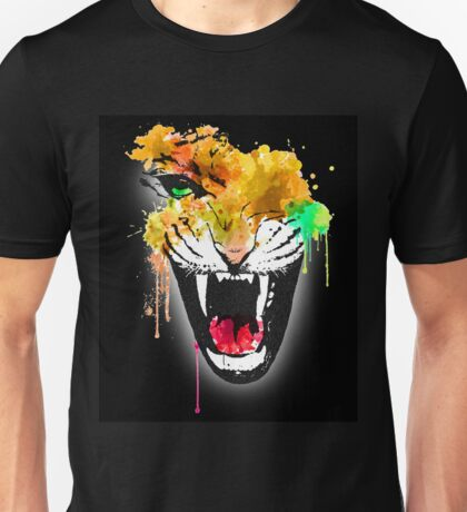 Water Coloured Tiger With black Background Unisex T-Shirt