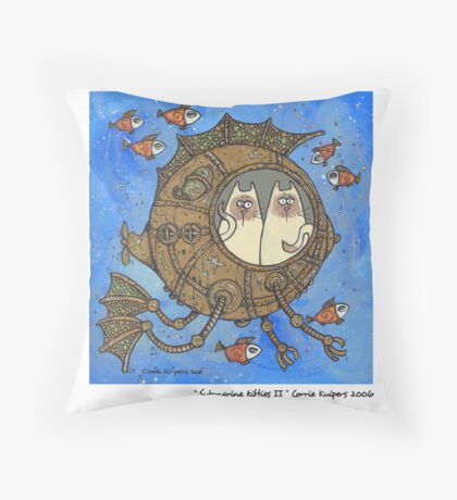 Submarine kitties II Throw Pillow