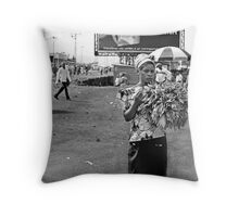 """Roadside Beauty"" Goma, Democratic Republic of Congo Throw Pillow"