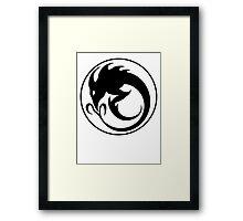 Sliver Ouroboros Symbol -Black- Framed Print