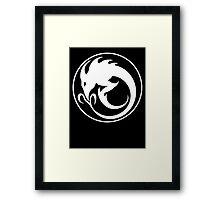 Sliver Ouroboros Symbol -White- Framed Print