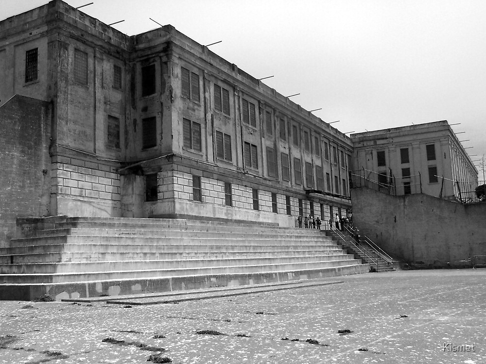 The Yard at  Alcatraz B&W by Kismet