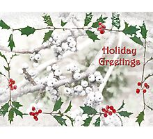 "Holly & Spruce Berries ""Holiday Greetings"" ~ Greeting Card Photographic Print"