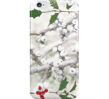 "Holly & Spruce Berries ""Holiday Greetings"" ~ Greeting Card iPhone Case/Skin"