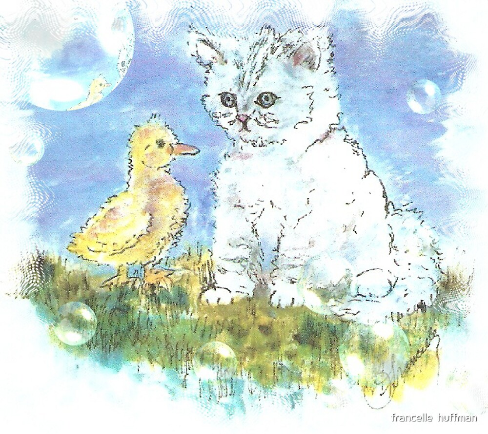 KITTEN AND DUCK by francelle  huffman