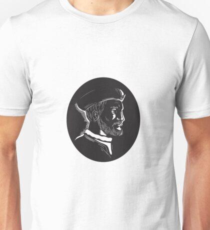 Jacques Cartier French Explorer Oval Woodcut Unisex T-Shirt