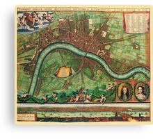 London Map 1600s Canvas Print