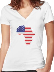 African American Africa United States Flag Women's Fitted V-Neck T-Shirt