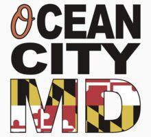 'O'cean City, Maryland w/Flag One Piece - Long Sleeve