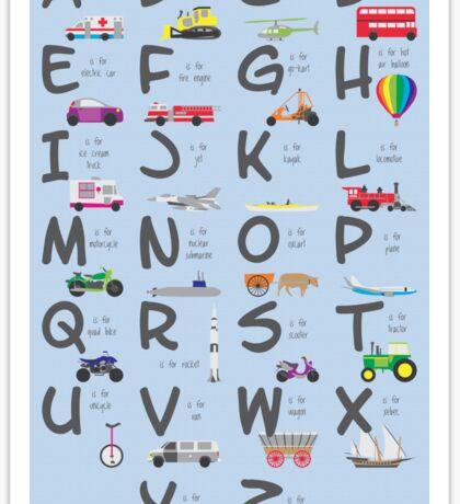 Transportation/Vehicles Alphabet Sticker