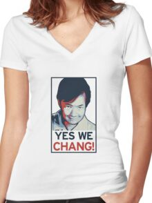 Yes We Chang! Women's Fitted V-Neck T-Shirt