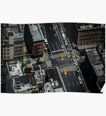 Travel City Landscape Love NYC - Pigeons View - Digital sky illustration Poster