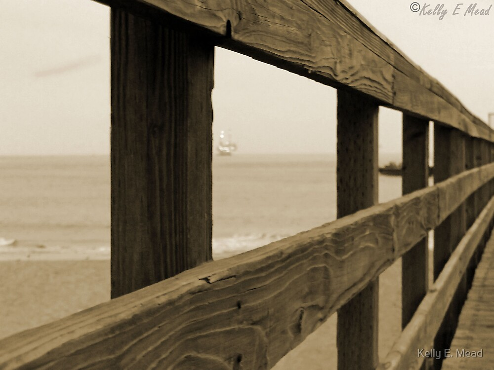 Pier down the railing by Kelly E. Mead