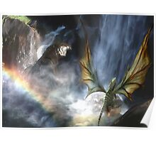 Water Dragon Rainbow Poster