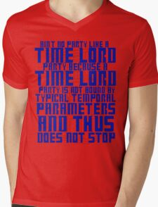 Aint No Party Like a Time Lord Party Mens V-Neck T-Shirt