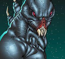 Red Eyed Evil Alien Sci-Fi Monster by Al Rio by alrioart