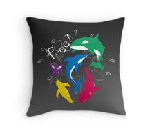 "The Animals of ""Free!"" Throw Pillow"