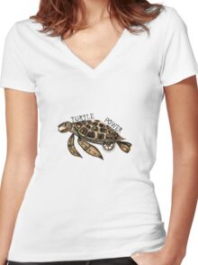 Steampunk turtle Women's Fitted V-Neck T-Shirt