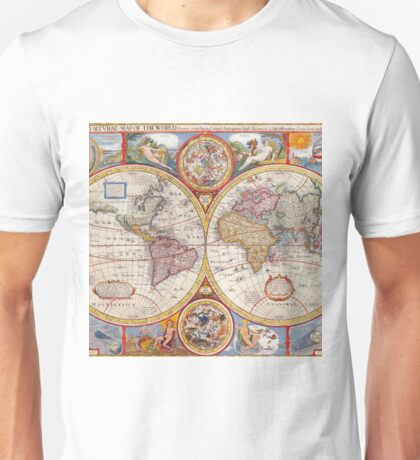 Vintage Antique Old World Map cartography Unisex T-Shirt