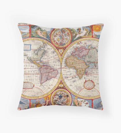 Vintage Antique Old World Map cartography Throw Pillow