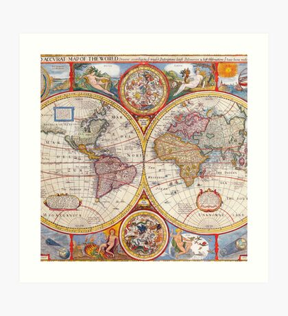 Vintage Antique Old World Map cartography Art Print