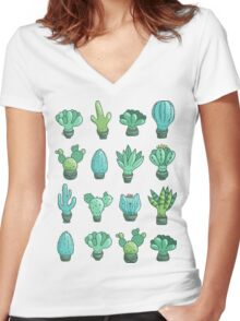 Cute cactus and succulents Women's Fitted V-Neck T-Shirt