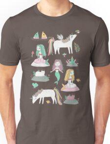 Unicorns and mermaids on the pond Unisex T-Shirt