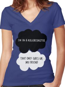 I'm on a Roller Coaster That Only Goes Up, My Friend Women's Fitted V-Neck T-Shirt