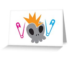 Skull with baby diaper nappy safety pins Greeting Card
