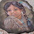 INDIAN GIRL ON LEATHER  by francelle  huffman