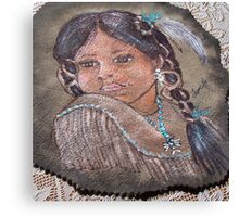 INDIAN GIRL ON LEATHER  Canvas Print