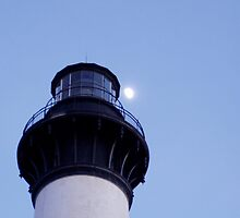 Closeup of lighthouse and the moon by Scott Syster