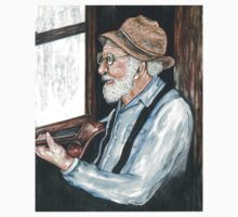 old man and guitar by rainy window by francelle  huffman